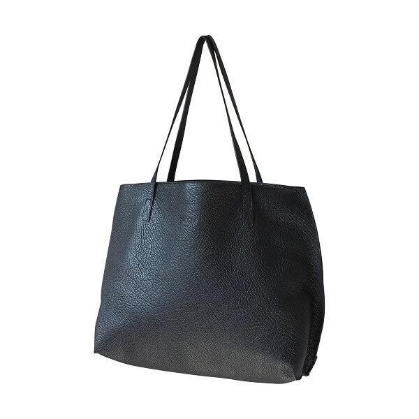 sac cabas noir cuir