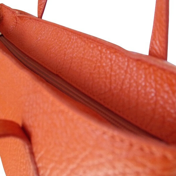 cabas orange cuir